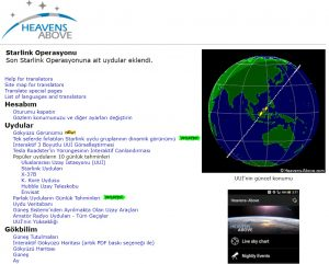 Translation of Heavens-Above astronomy website from English to Turkish, with a friend of mine. An astronomy prof from Istanbul University congratulated me for my work